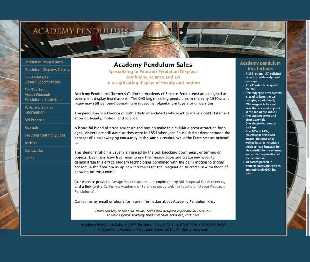 Academy Pendulums, Maker Inventor Website Design by Constance Brand, CGMEDIA
