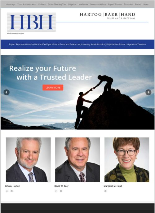 HBH Trust and Estate Law Website Design by Constance Brand, CGMEDIA