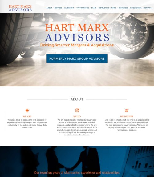 Hart Marx Advisors Mergers & Acquisitions Website Design by Constance Brand, CGMEDIA