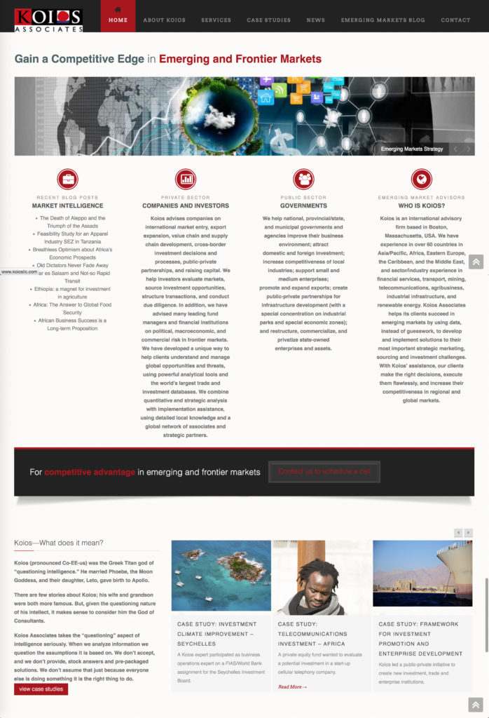 Koios Associates Global Consultants Website Design by Connie Brand, CGMEDIA