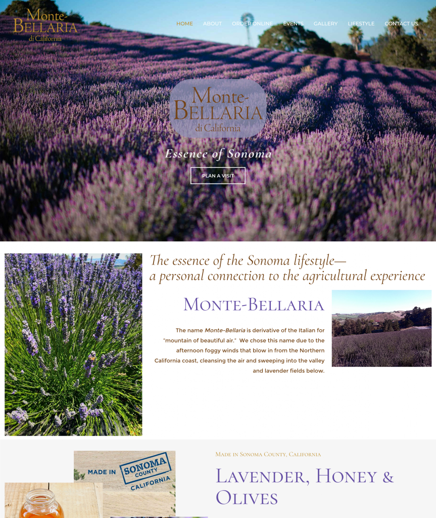 CGMEDIA E-commerce Website Design | Agri-tourism | Monte-Bellaria Lavender Farm